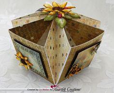 Step by step treat box tutorial by Liz Walker found here: https://www.heartfeltcreations.us/blog/?blogID=333