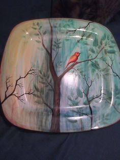 Large Hand Painted Platter with Bird in a Tree