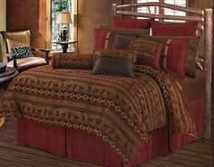 Cascade Lodge log cabin bedding. Guest bedroom and/or rental cabin