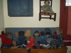collection of early cloth dolls..