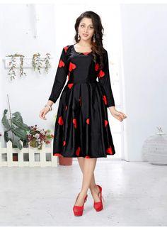 New Crap Black Red Heart Printed Western Dress
