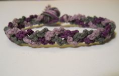 Violet Lavender and Gray Hemp Bracelet by PeaceLoveNKnottyHemp, $7.00