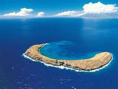 Molokini Island - Maui.  Snorkled in the middle of this crater - the top of a volcano!