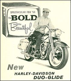 Vintage Motorcycles Your duo glides off without disturbing your ride - 1960 Harley-Davidson - 1960 Harley-Davidson ad (replaced with a cleaned up version). Vintage Harley Davidson, Harley Davidson Kunst, Harley Davidson Posters, Classic Harley Davidson, Vintage Cycles, Vintage Bikes, Vintage Ads, Vintage Stuff, Motorcycle Posters