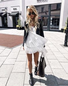 outfit ideas, inspiration, flowy dress, white dress, black and white outfits