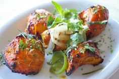 Chicken Tikka:Boneless chicken, marinated in yogurt and spices, grilled on skewers. #Tikka #Chicken #Food #LosAngles forked.com