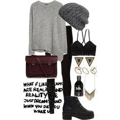 Outfit for school / tenue d'ecole/college/lycee ( pull gris ~ legging noir ~ boots noires ~ bonnet gris ~ sac bordeau ~ bijoux dorés )