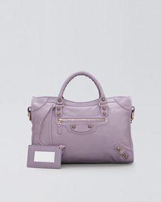 Giant 12 Rose Golden City Bag, Glycine by Balenciaga at Neiman Marcus.