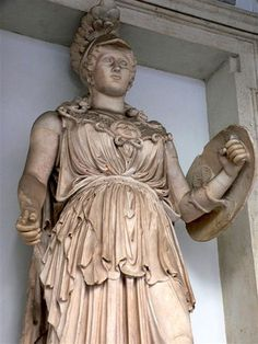Roman Goddess Minerva :    Title: Goddess of wisdom  Greek name: Athene  Relations: Daughter of Jupiter    Minerva was the goddess of wisdom. Her symbol was the owl. Her Greek name was Athene, and Athens was her city.She had a strange birth. One day, Jupiter had a bad headache. Nothing would cure it. Eventually Vulcan split open Jupiter's head. Out jumped Minerva in armour with shield and spear! Jupiter felt much better afterwards. Don't try this at home.