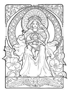 Image done for my personal Christmas cards this year.Drawn in pencil on Canson drawing paper, overlaid with ZIG pen and Le Plume felt tip marker for the cleanest, darkest lines. Train Coloring Pages, Coloring Book Pages, Coloring Sheets, Felt Tip Markers, Art Nouveau, Personalised Christmas Cards, Catholic Kids, Christmas Rose, Christian Art