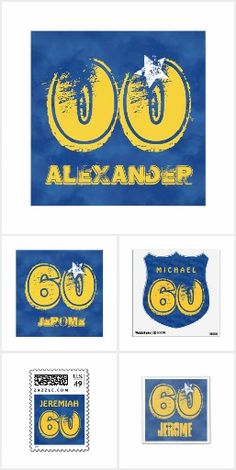 Birthday Grunge Blue Gold for Him 60th or Any Age