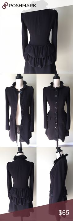 Rare Elegant Vintage Black Coat & Dress Small This coat is vintage. Very elegant. Can be worn as a simple coat or a dress all buttoned up. The 3rd button from the top is a little loose. Beautifully lined and it's sorta heavy.  Make me an offer :-) Vintage Jackets & Coats Pea Coats