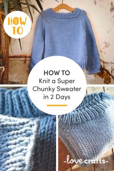 Learn how to knit a free super chunky sweater pattern in a weekend Learn how to knit with Jumper Knitting Pattern, Jumper Patterns, Knitting Patterns Free, Knitting Tutorials, Stitch Patterns, Crochet Patterns, Chunky Knit Jumper, Chunky Knits, Twin Set