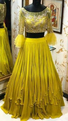 Beautiful Lehenga with Hand Embroidered blouse. Indian Fashion Dresses, Indian Gowns Dresses, Indian Designer Outfits, Designer Dresses, Indian Designers, Indian Wedding Outfits, Bridal Outfits, Indian Outfits, Bridal Dresses