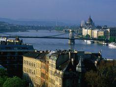 Taban, River Danube and Chain Bridge Seen from Gellert Hill, Budapest, Hungary