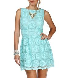 Pre-Order Mint Embroider Floral Dress