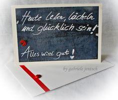 """Karte Sprüche Zitate """"Alles wird gut"""" von PHOTOGLÜCK auf DaWanda.com Verschenke doch mal ein  Päckchen mit Grußkarten"""