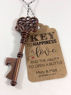 Key Bottle Opener Wedding Favors - Vintage Key Wedding Favors - Key Bottle Openers AND Tags - Wedding Favor Ideas - Skeleton Key Wedding Favors - Wedding Favor Tags Wedding Favours Bottles, Vintage Wedding Favors, Creative Wedding Favors, Inexpensive Wedding Favors, Wedding Gifts For Guests, Wedding Favors For Guests, Wedding Favor Tags, Diy Wedding, Handmade Wedding
