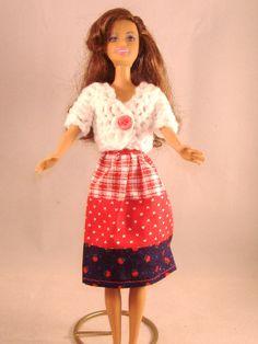 Handmade Barbie  Red and Blue Patchwork Print Skirt & White Crocheted Short Sleeved Sweater