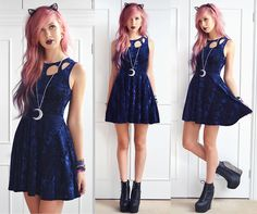 Evil Twin Gattaca Skater Dress, Hunter Moon Necklace, Boohoo Lace Cat Ears, Jeffrey Campbell Spiked Damsel