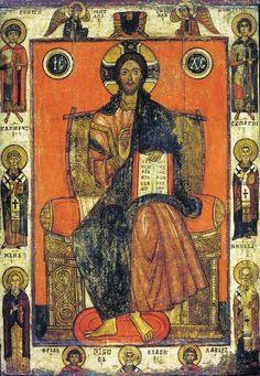 Иконы древние со святыми на полях