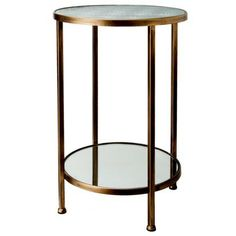 """Mirrored Etched Glass Accent Table - Gold and Silver Nightstand? $80 - pre-register release date 11-03-13, 22.0 """" H x 14.6 """" W x 14.6 """" D"""