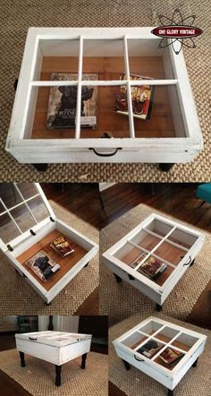 Repurposed window as coffee table with storage