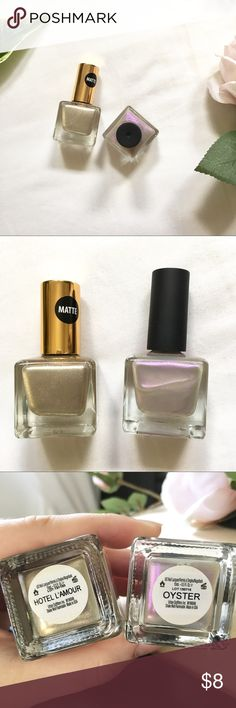 """2 Urban Outfitters Nail Polishes! ✨💅🏼 2 gorgeous colors: """"Hotel L'Amour"""" (sparkly gold matte) and """"Oyster"""" (iridescent purple)! // """"Oyster"""" is pretty sheer, so it works better as a top coat // Great condition! Barely used! // Get one for $5 a piece or both together for only $8! Urban Outfitters Makeup"""