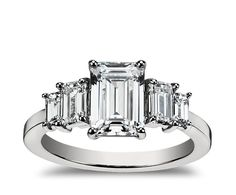 Four Stone Emerald Diamond Engagement Ring in Platinum   Blue Nile