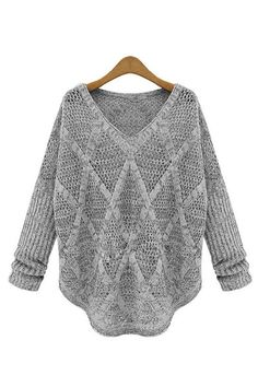 Hollow Out Long Sleeve Casual Style V-Neck Acrylic Sweater 66829e13e