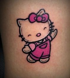 A Hello Kitty bow is very distinct. Looking at the bow alone we can identify Hello Kitty. A Hello Kitty bow is very distinct. Hello Kitty Bow, Hello Kitty Tattoos, Hello Kitty Items, Hello Kitty Birthday, Doodle Tattoo, Cat Tattoo, Lion Tattoo, Compass Tattoo, Cartoon Character Tattoos