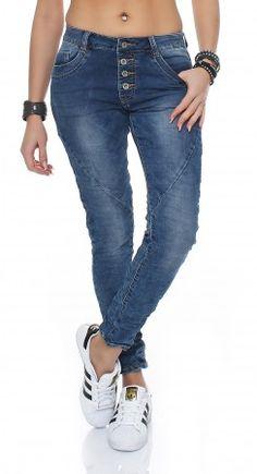 Aniston Jeans 22 Stretch Röhrenjeans 44 Denim Used Blau Damen Hose Sterne NEU