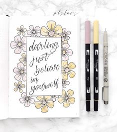 Darling just believe in yourself! #april #flowers #pastels #pink #yellow #greenstory #bujo #bulletjournal #bujoweekly #bujospread #bujoinspire #bujobeauty #bujojunkies #bujocommunity #bulletjournalcommunity #bulletjournaladdict #bulletjournalss #bulletjournaling #bulletjournallove #journal #lettering #calligraphy #plslars #studygram #planwithme #doodle #art #tombow #spring