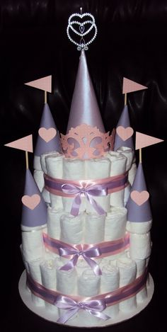 Super cute castle diaper cake