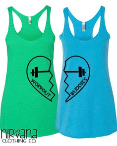 Workout Buddies 2 Tanks- Workout Buddies Who's your workout buddy? These make the perfect gift or super fun matching tanks for a race or at the gym. These tanks fit TRUE TO SIZE. See size chart in pic