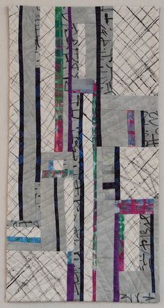 """Appia 2015-measures 12"""" x 24"""" hand painted and dyed fabrics, machine pieced and quilted"""