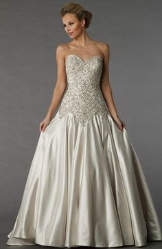 Sweetheart A-Line Wedding Dress  with Basque Waist in Silk. Bridal Gown Style Number:33024456