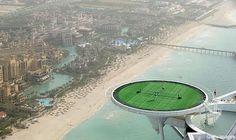 Tennis court, Helipad on the roof of the seven-star Burj Al Arab hotel.