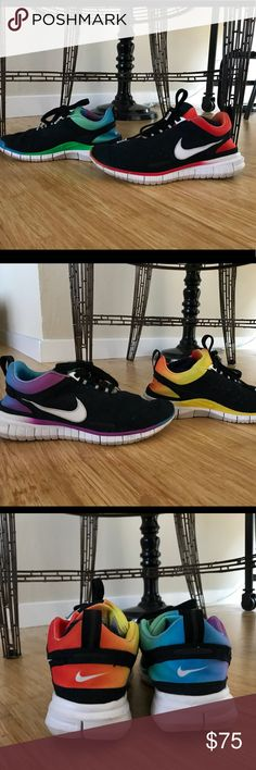 Limited Edition Pride Nike Sneakers - #betrue Awesome and limited edition Nike sneakers made in honor of pride month in 2015.  These sneakers are one of a kind and will not be reproduced.  Worn lovingly and in excellent condition!  Own these one of a kind sneakers for a fraction of the original cost. Nike Shoes Sneakers