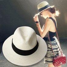 Verão de palha panamá praia chapéus para mulheres chá, Moda clássico cinto jazz chapéu de sol, Chapéu feminino, Sombrero mujer(China (Mainland))