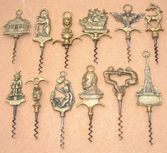Brass figural Corkscrews - A vast number of different Brass finger pulls were produced, primarily In the UK from the turn of the century. Many were designed to commemorate specific occasions, others were produced with fun in mind. Finger Pull, Wine Bottle Opener, Wine Art, Wine Corks, Beverage, Collections, Brass, Number, Antiques