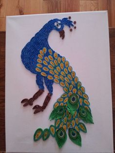 paper quilling peacock,wall hanging