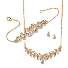 """Three piece rhinestone embellished gift set in a leaf design. · Necklace: 16 1/2"""" L with Lobster Claw clasp and 3 1/2"""" L extender · Bracelet: 7 1/4"""" with Lobster Claw clasp and 1"""" extender · Earrings: Pierced, 5/16"""" x 3/16"""" with Post and Earnut clutch · ImportedWhile supplies last #limitsupply #avon #pretty"""