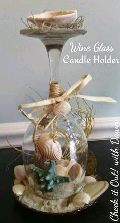 Check it Out! with Dawn: Craft Hop - Beach Themed Wine Glass Candle Holder Check it Out! with Dawn: Craft Hop - Beach Themed Wine Glass Candle Holder Seashell Candles, Seashell Crafts, Beach Crafts, Seashells, Wine Glass Candle Holder, Wine Candles, Wine Glass Centerpieces, Glass Votive, Wedding Centerpieces