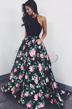 Gorgeous Black Floral Long Prom Dress with Pockets