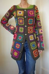 crochet granny square coat patterns - Google Search