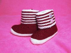 Free Baby Knitting Pattern! Boot Style Red and White Baby Booties for Cold…
