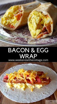 Breakfast Dishes, Best Breakfast, Breakfast Recipes, Breakfast Tortilla, Healthy Breakfast Wraps, Bacon Breakfast, Breakfast Sandwiches, Yummy Breakfast Ideas, Make Ahead Breakfast Burritos