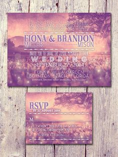 Digital - Printable Files - Sunset in Paradise Wedding Invitation and Reply Card Set - Wedding Stationery - ID409