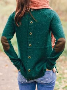 Love this Sweater Design! Back Buttoned Elbow Spliced Pullover Sweater